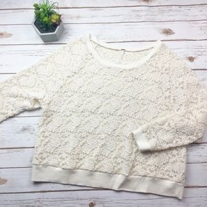 Free People lace crochet cropped sweater cream S